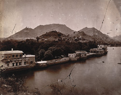 The Anar Sagar Lake and Bund from the British Residency, Ajmer.
